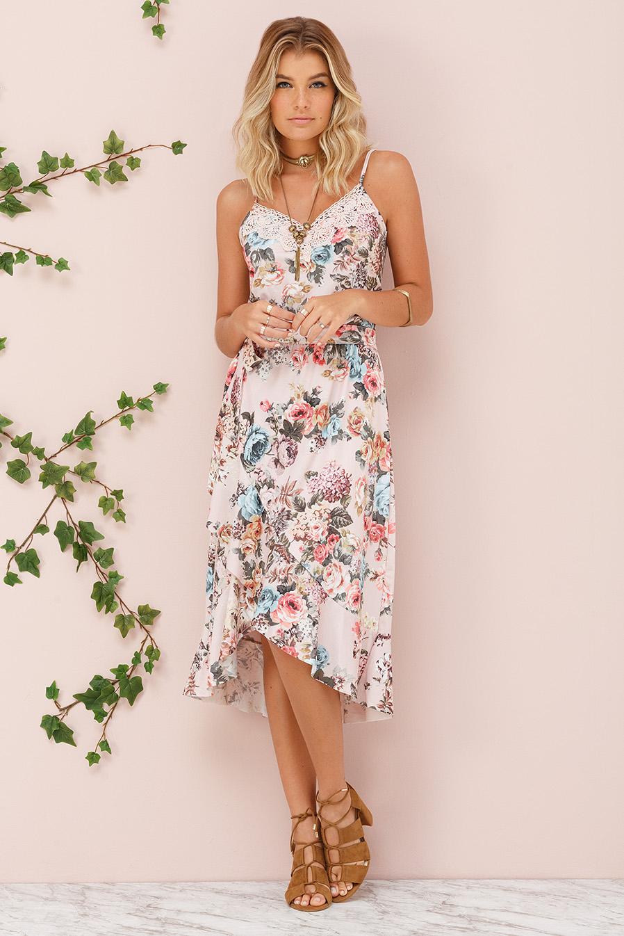 Vestido Midi Crepe Alças Babado Floral