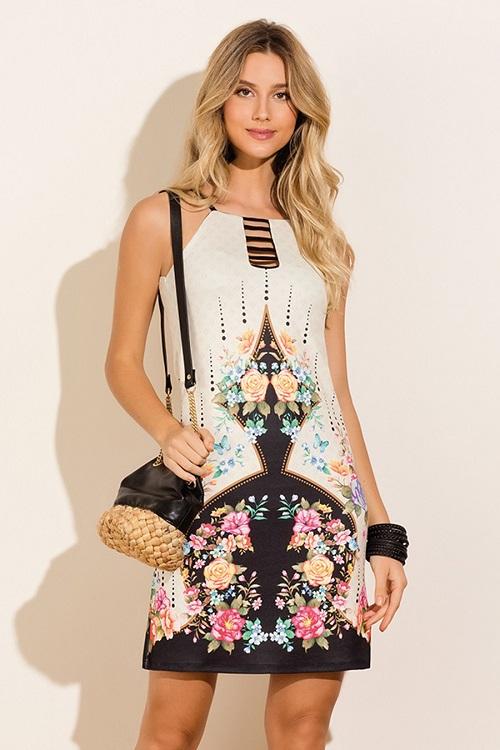 Vestido Curto Knit Dobby Alças Finas Geométrico Floral
