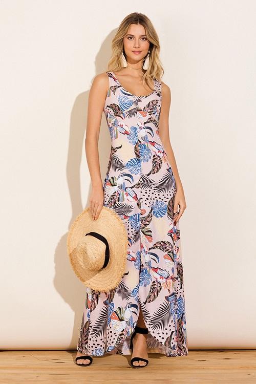 Vestido Longo Viscocrepe Fenda Sem Mangas Tropical