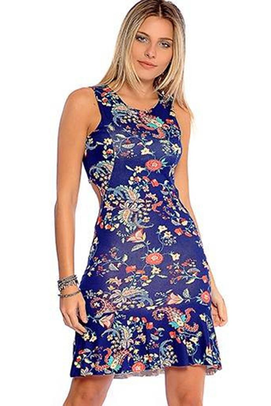 Vestido Curto Viscolycra Vazado Azul Estampa Floral