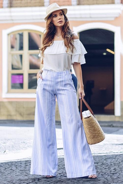 Calça Pantalona Zíper Lateral Linho Listrado