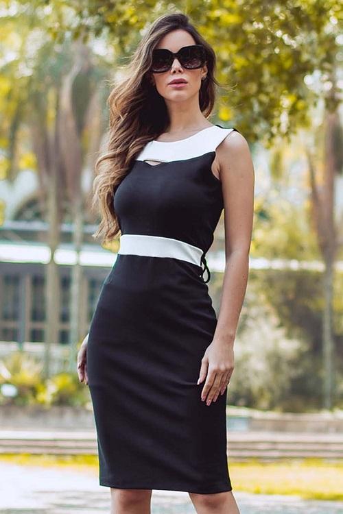 Vestido Curto Crepe Tiras Amarração Preto