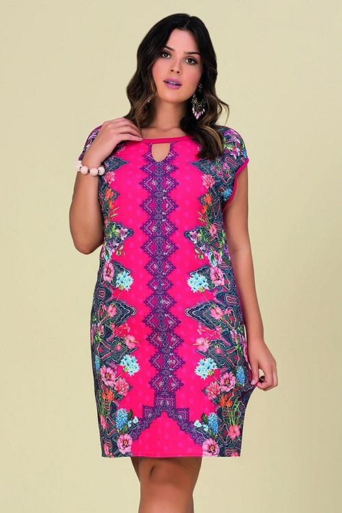 Vestido Curto Plus Size Viscolycra Gota Geométrico Floral Rosa