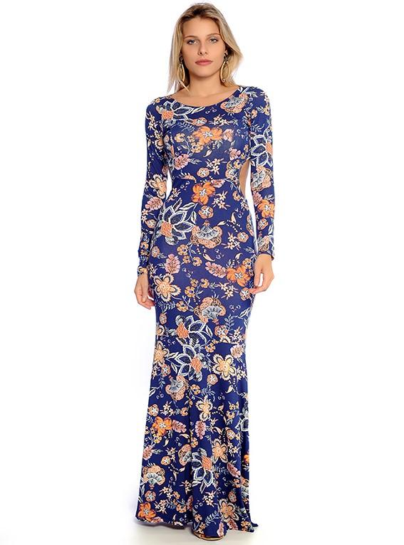 Vestido Longo Viscolycra Estampado Sereia Vermont Azul