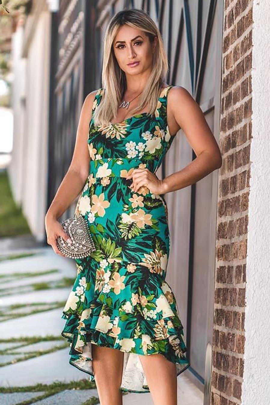 Vestido Midi Malha Crepe Babado Floral