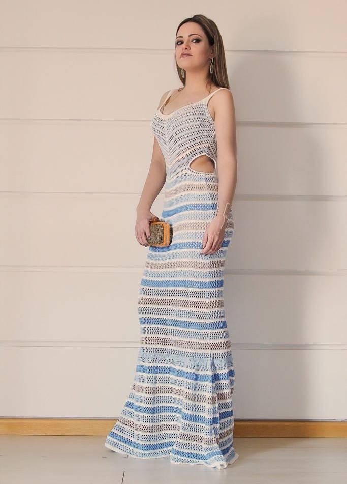 Vestido Longo Tricot Listrado Lateral Vazada