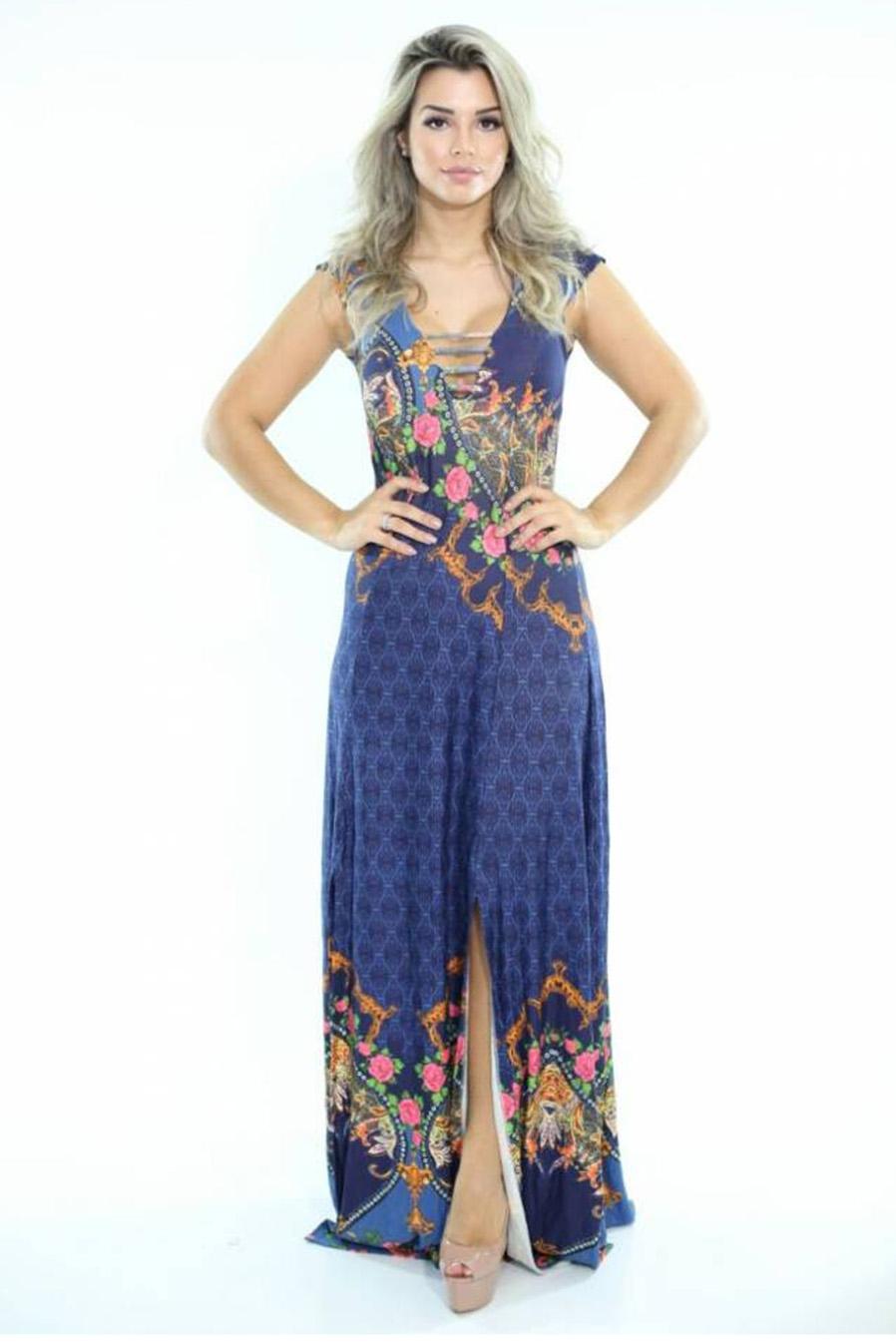 Vestido Longo Viscolycra Estampado Liberty Azul