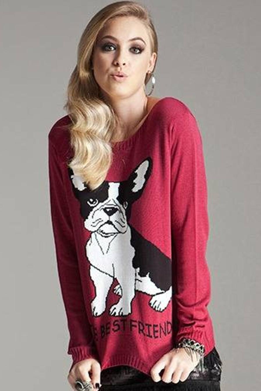 Blusa Manga Longa Tricot Estampa Dog Vermelha
