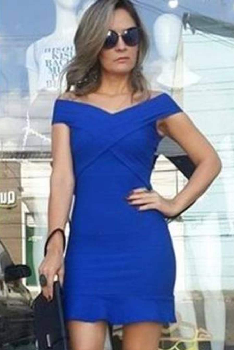 Vestido Curto Bandagem Transpasse Babado Azul