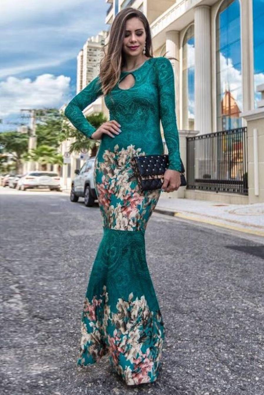 Vestido Longo Sereia Manga Longa Estampa Verde