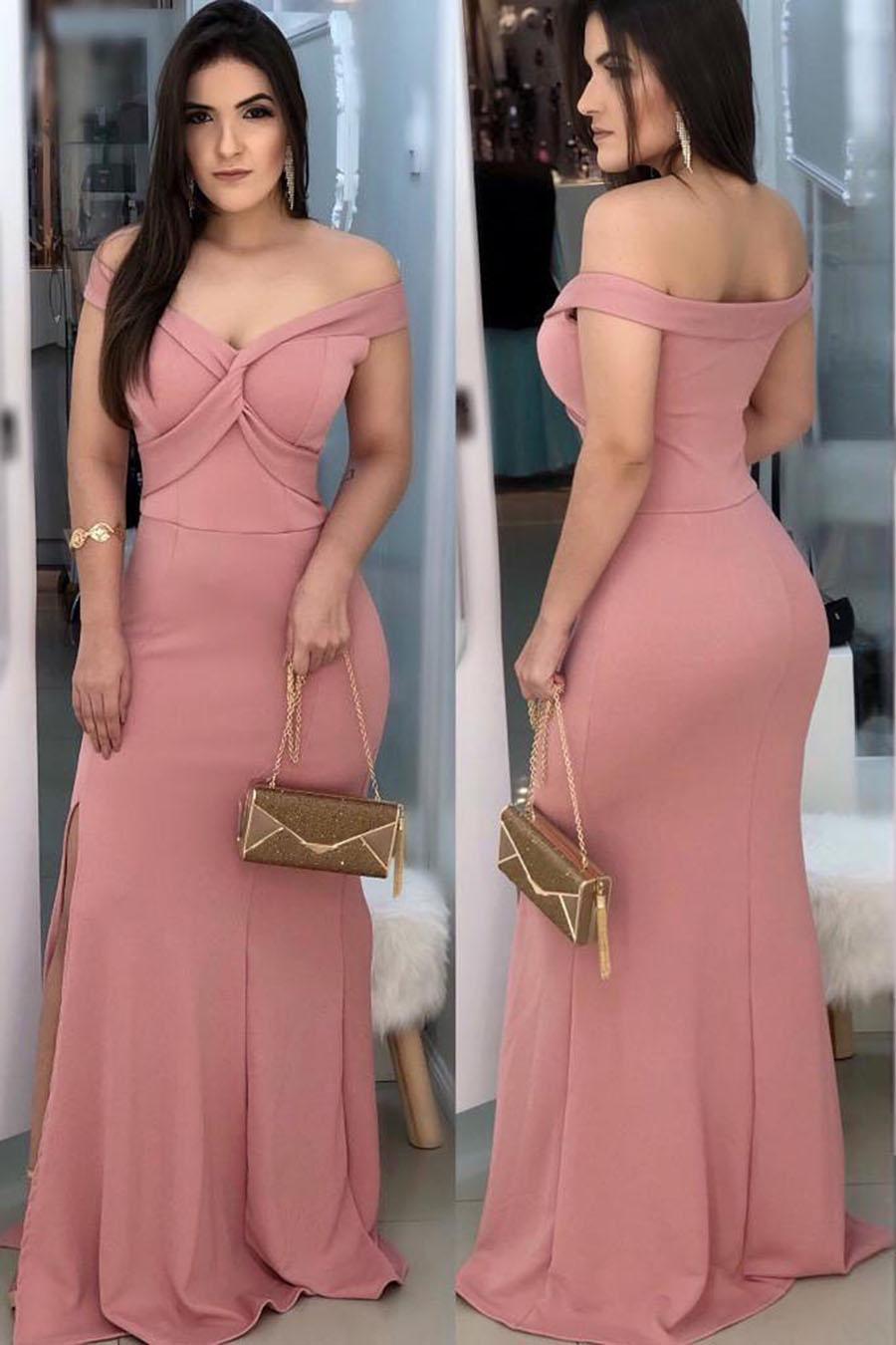 Vestido Longo Crepe Ombro a Ombro Fenda Rosê