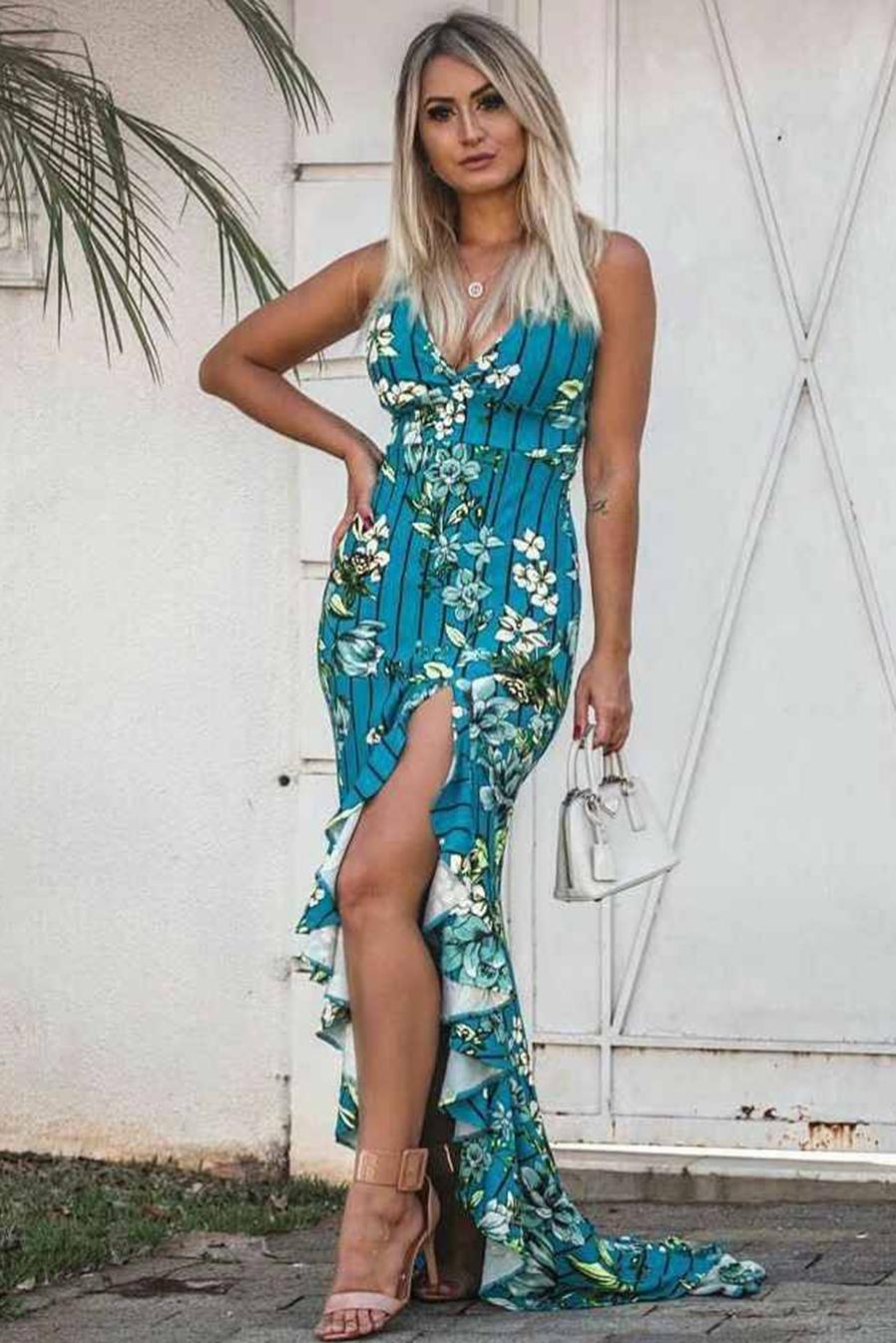 Vestido Longo Estampado Decotado Babado Fenda Azul