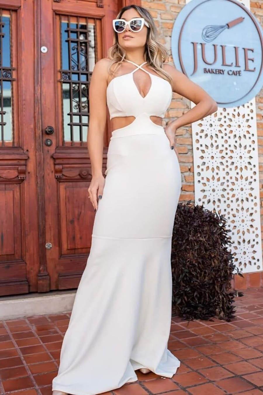 Vestido Longo Crepe Decotado Vazado Sereia Branco