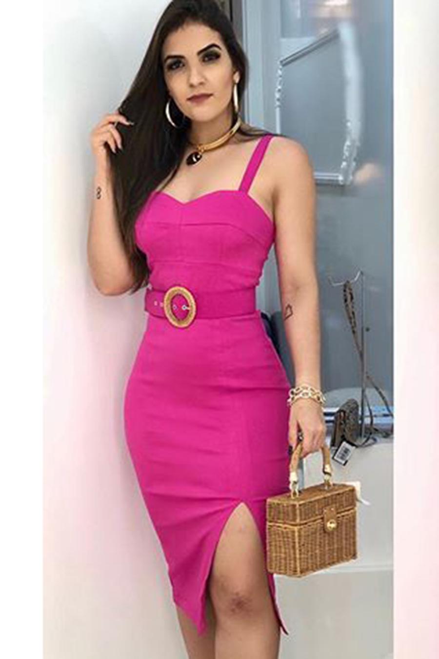 Vestido Midi Crepe Alças Fenda Rosa