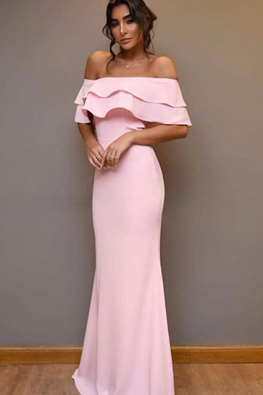 Vestido Longo Ombro a Ombro Ciganinha Rosa