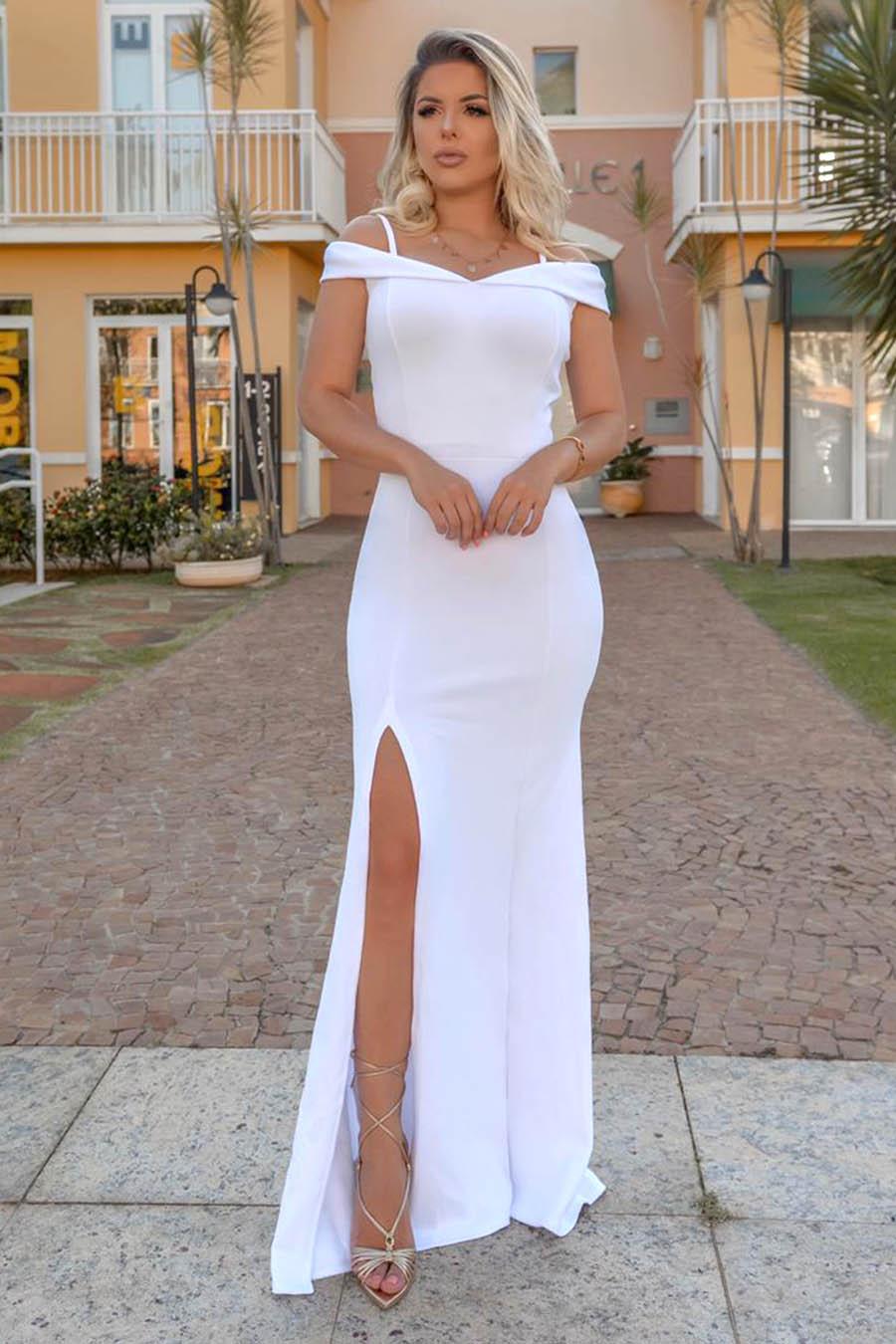 Vestido Longo Crepe Ombro a Ombro Fenda Branco