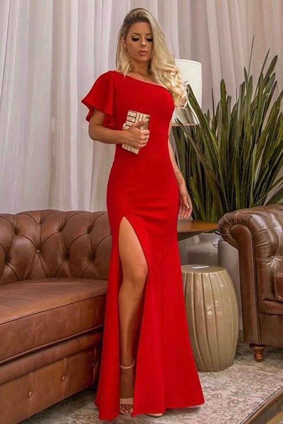Vestido Longo Fenda Ombro Único Manga Vermelho