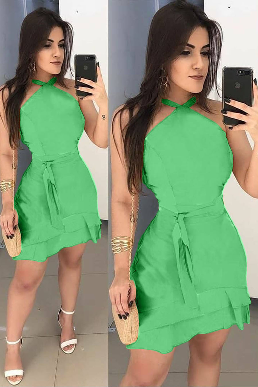 Vestido Curto Verde Decote Jóia