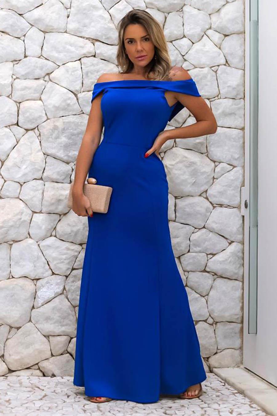 Vestido Longo Crepe Ombro a Ombro Azul