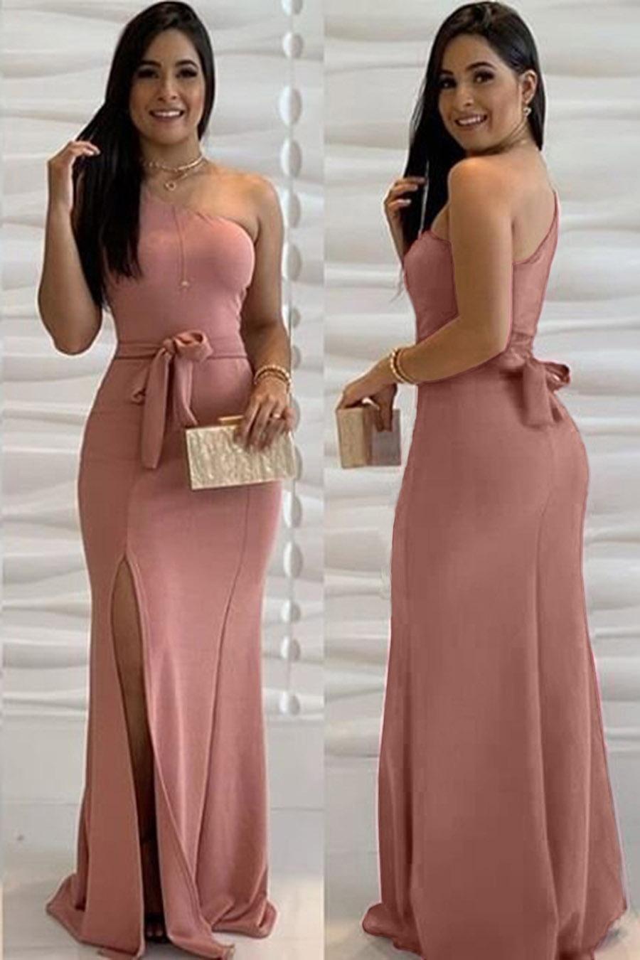 Vestido Longo Crepe Ombro Único Amarração Fenda Rosê