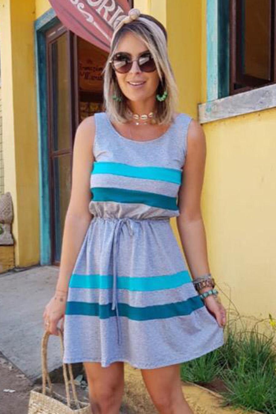 Vestido Curto Viscolycra Náutico Listras Azul