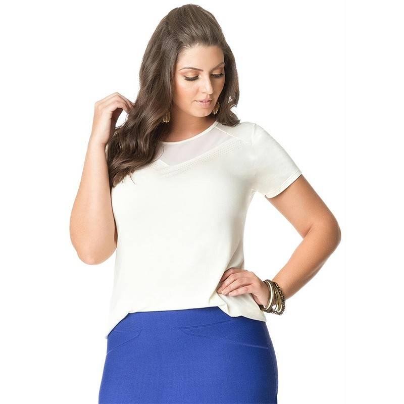 Blusa Plus Size Branca Busto Tule Strass Viscolycra
