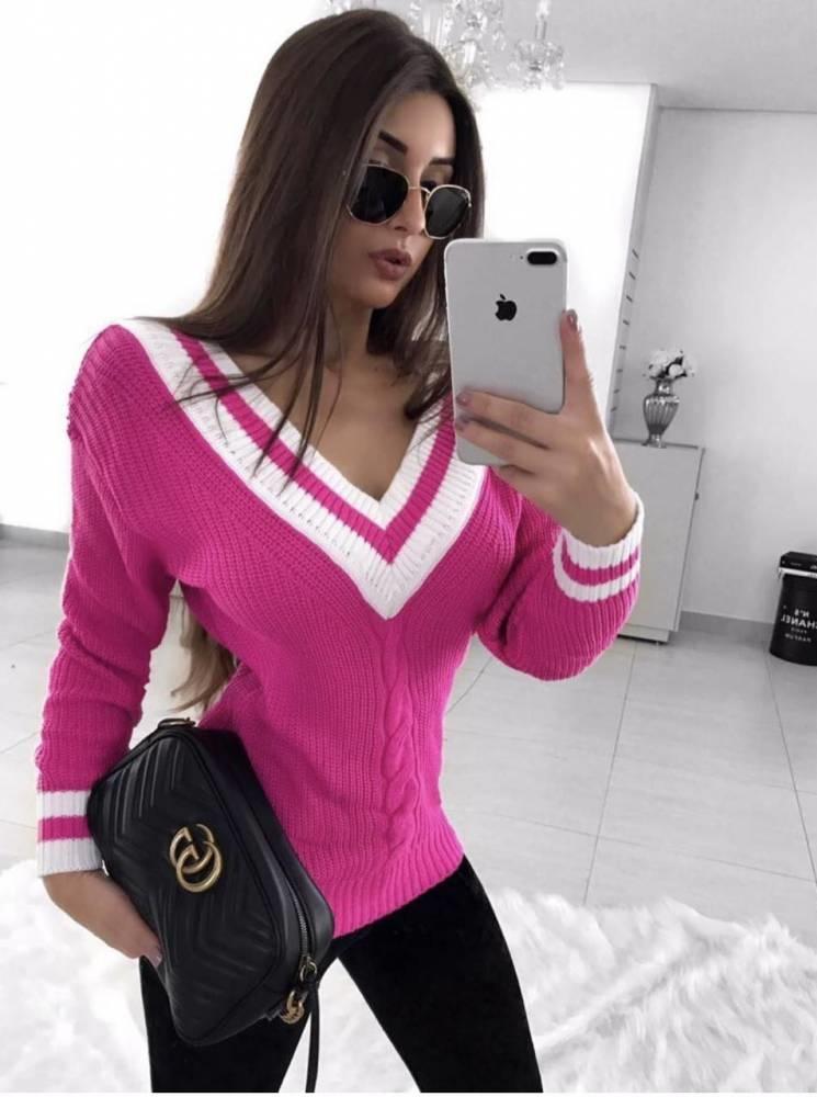 Blusa Tricot Rosa Manga Longa Decote V