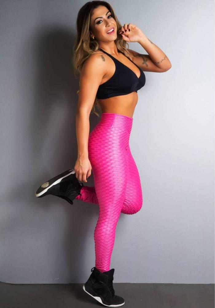 Legging Fitness Supplex Cós Alto Relevo Rosa