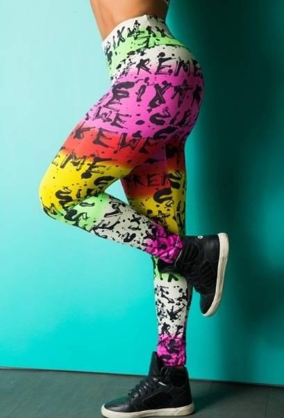 Legging Fitness Supplex Cós Alto Texto Multicolor