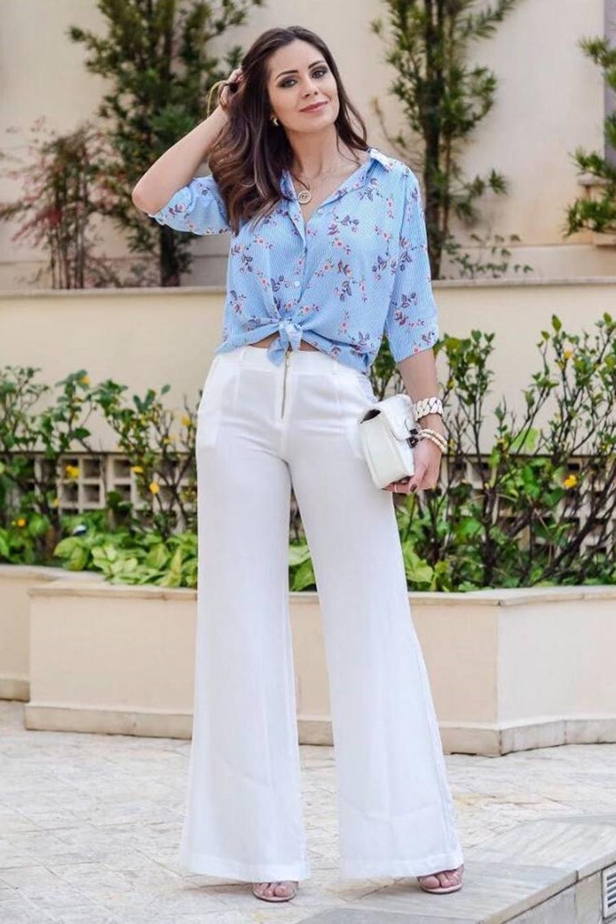 Calça Pantalona Crepe Cós Alto Zíper Branca