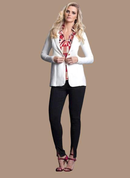 Calça Skinny Preta Fenda Frontal