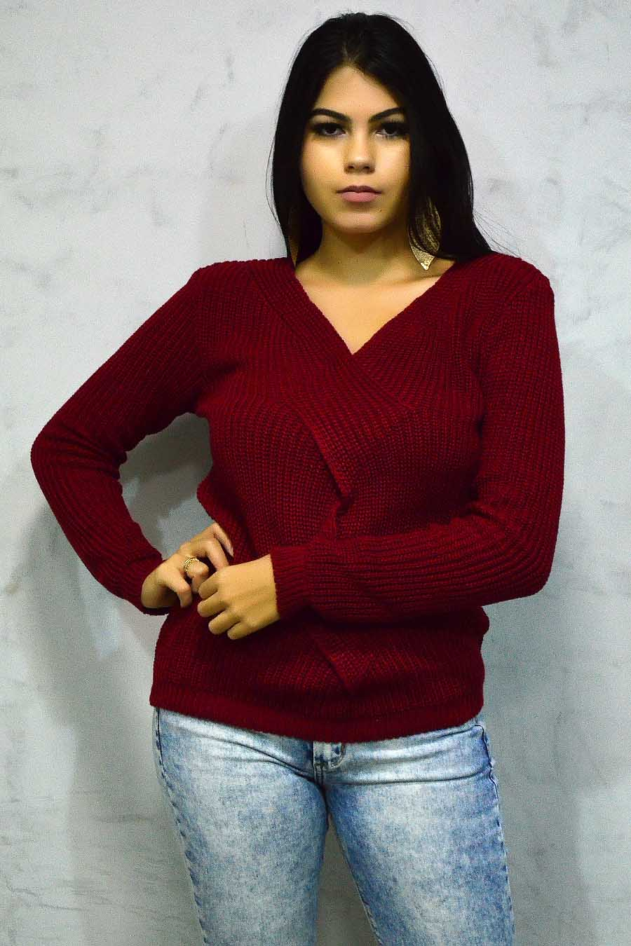 Blusa Tricot Decotada Manga Longa Vermelha
