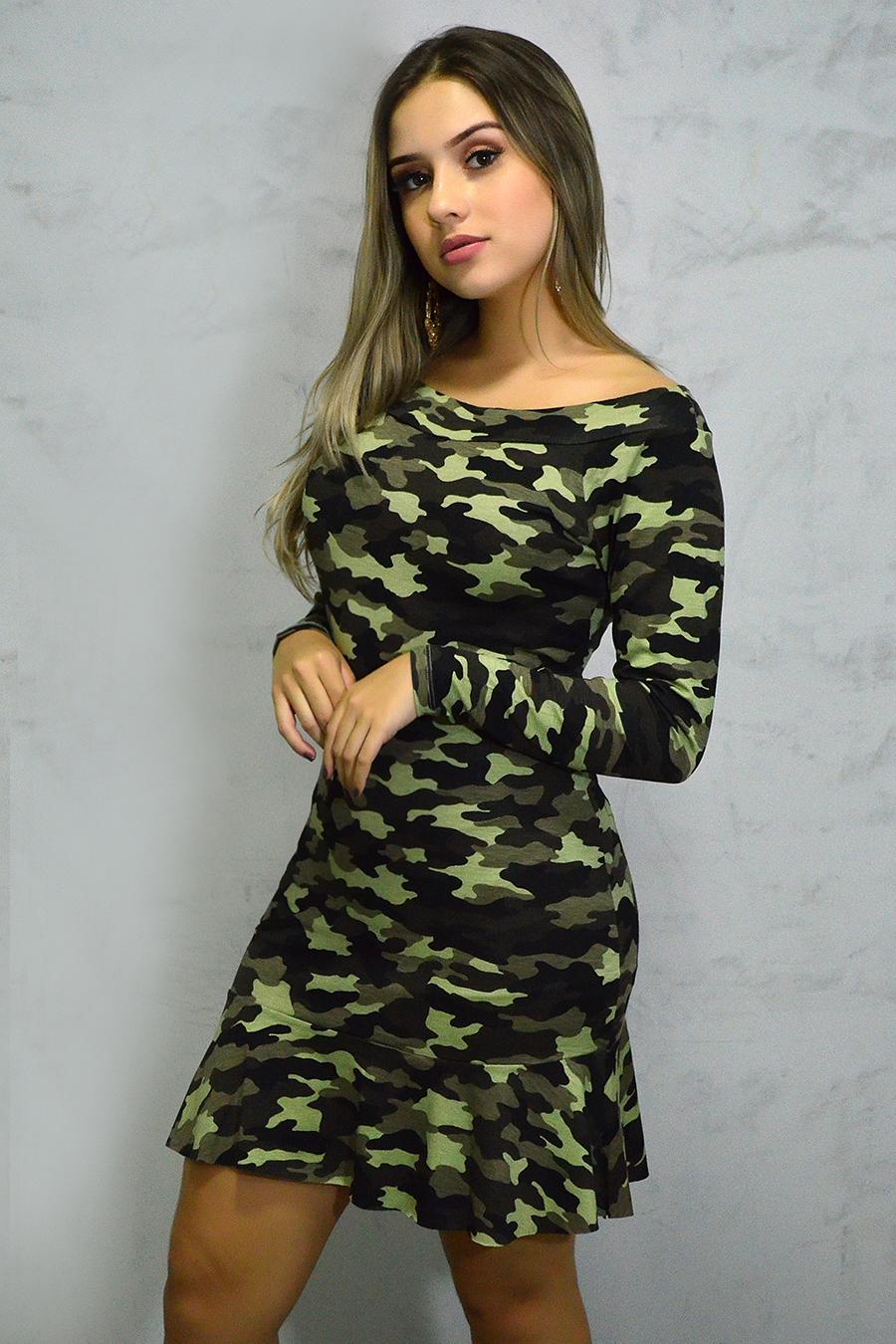 Vestido Curto Manga Longa Verde Militar