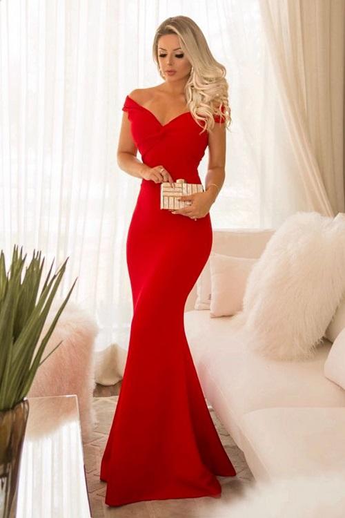 Vestido Longo Crepe Ombro Nu Decotado Sereia Vermelho