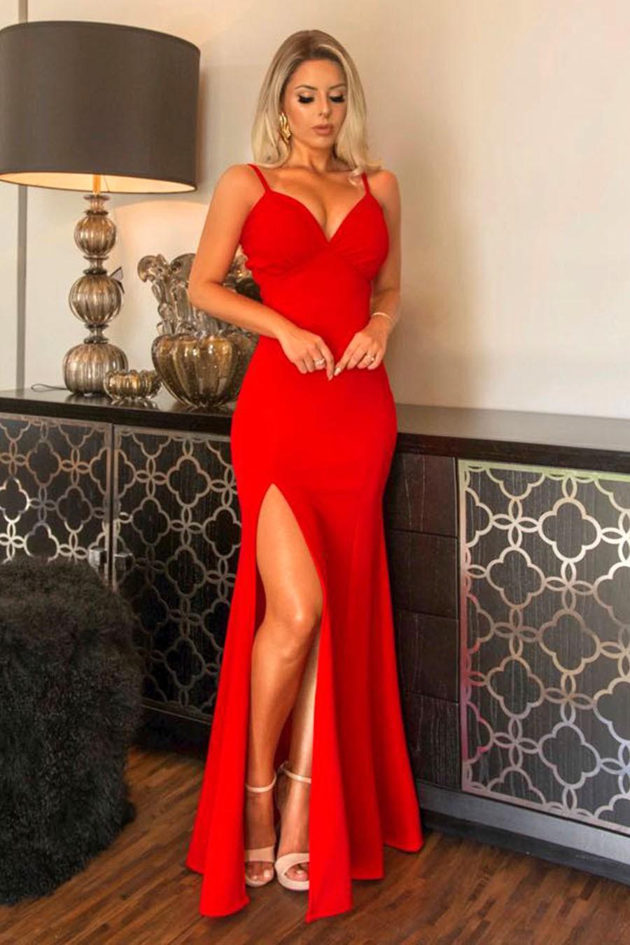 Vestido Longo Crepe Alças Finas Decotado Fenda Vermelho