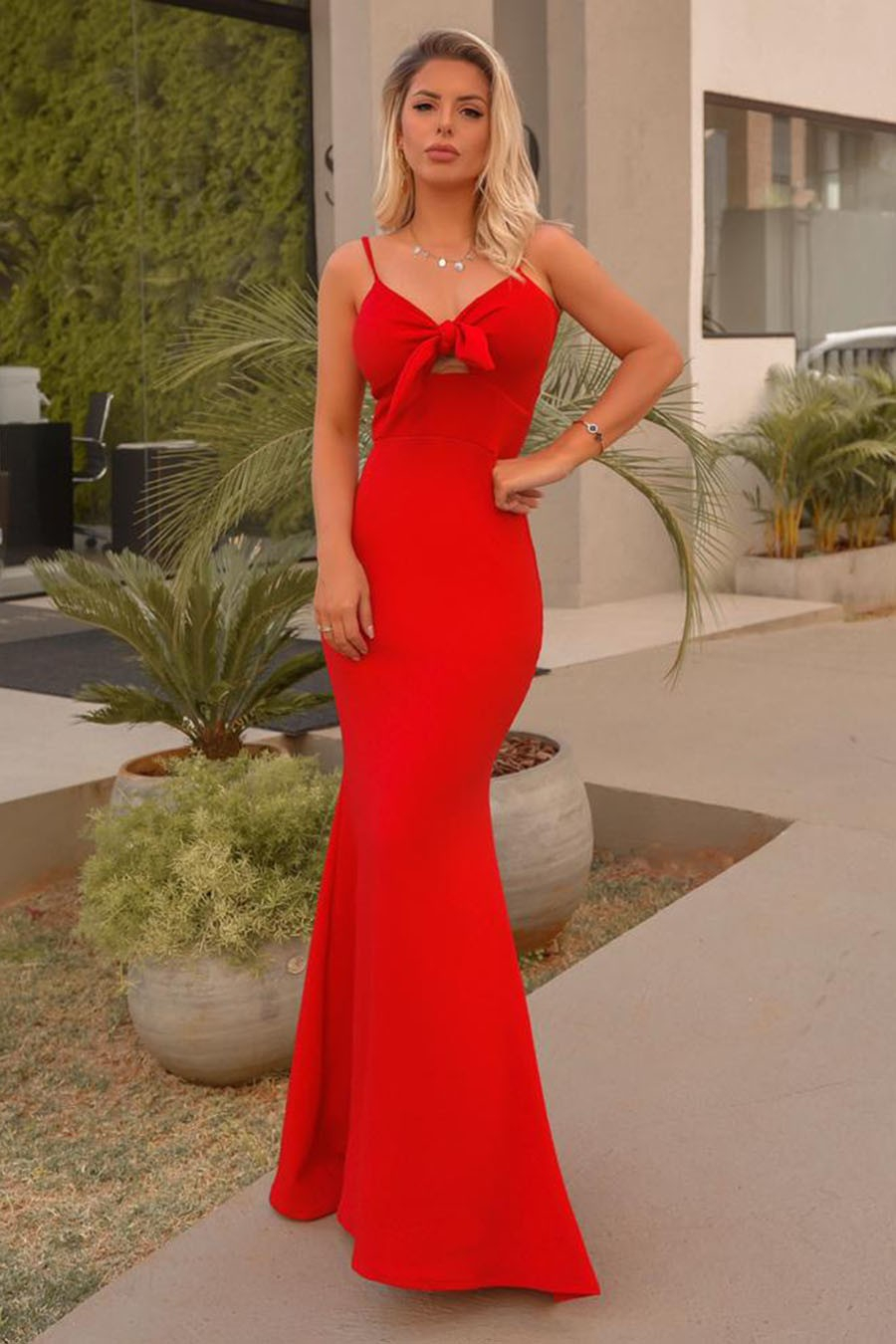 Vestido Longo Crepe Alças Finas Laço Vermelho