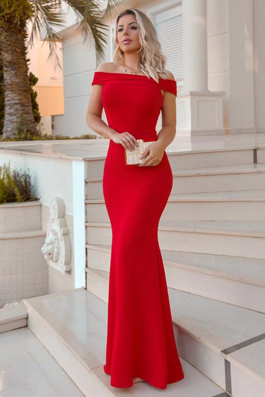 Vestido Longo Crepe Ombro a Ombro Vermelho