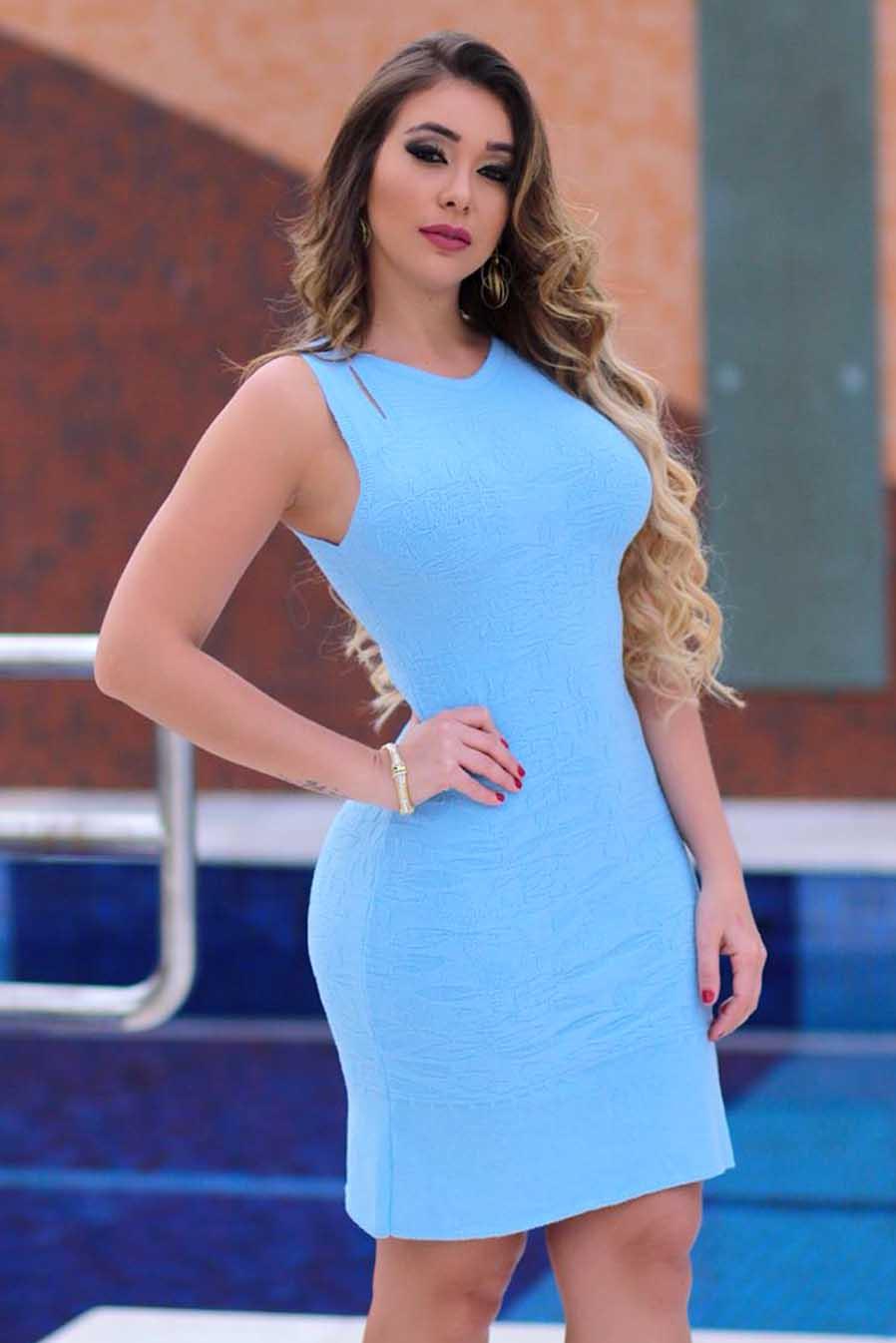 Vestido Curto Tricot Modal Elegance Azul