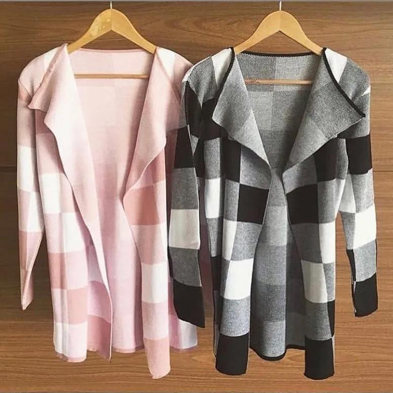 Kimono Tricot Estampa Xadrez Rosa