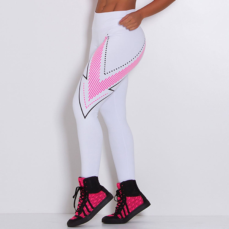 Legging Fitness Supplex Cós Alto Seta Branco