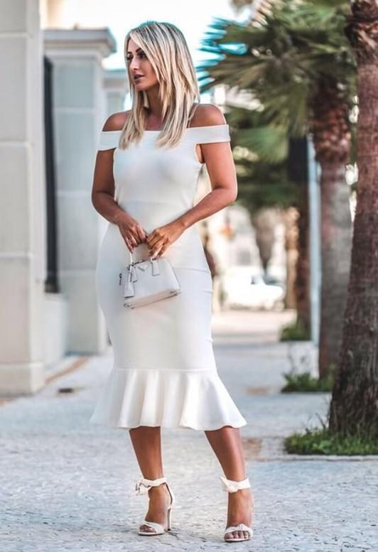 Vestido Midi Crepe Ombro a Ombro Babado Off White