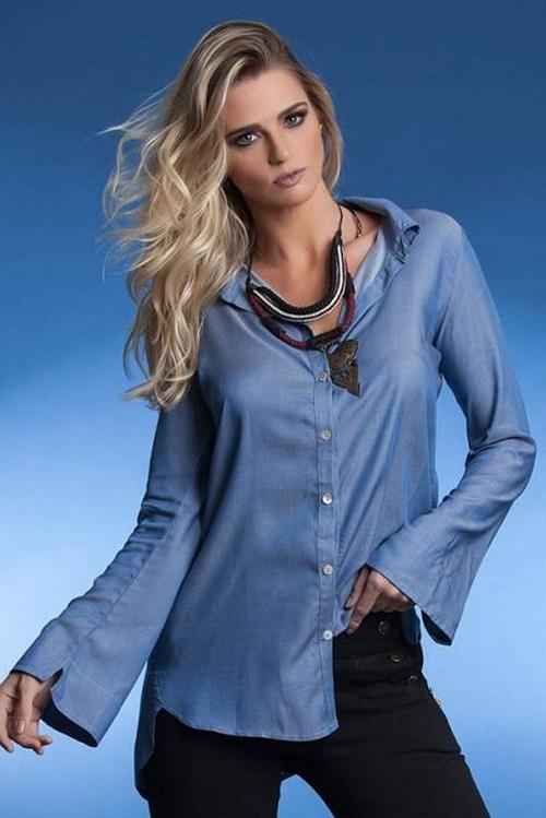 Camisa Manga Flare Chambray Azul