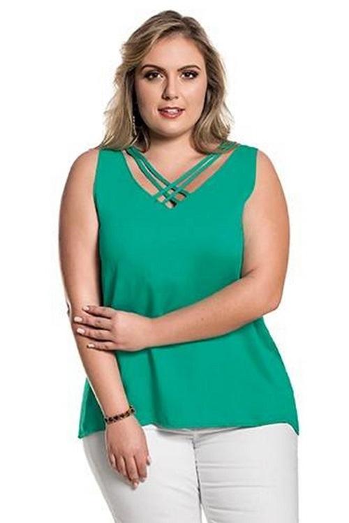 Blusa Plus Size Básica Tricoline Tiras Verde