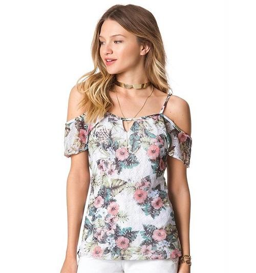 Blusa Branca Floral Rendada Ombro Nu Babado Posterior