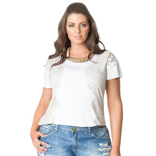 Blusa Plus Size Estampa Gel Manga Curta Renda Sobreposta