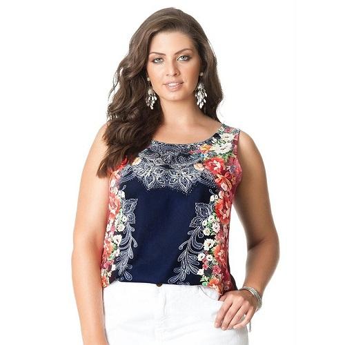 Blusa Plus Size Sem Mangas Azul Floral Cetim