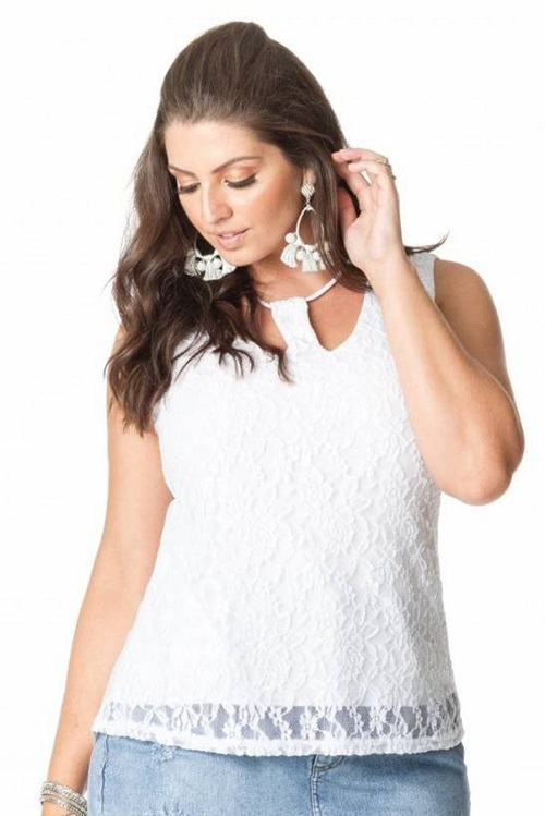 Blusa Branca Plus Size Frente Rendada