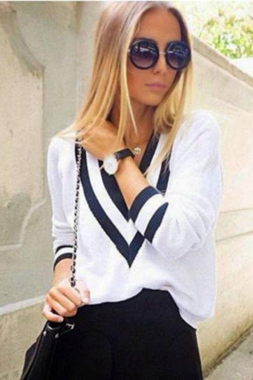 Blusa Tricot Branca Manga Longa Decote V