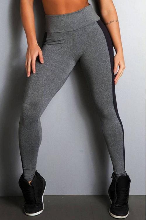 Legging Fitness Supplex Cós Alto Recorte Lateral Cinza