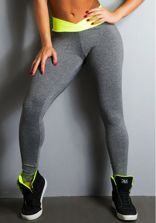 Legging Fitness Supplex Cinza Cós Alto Neon